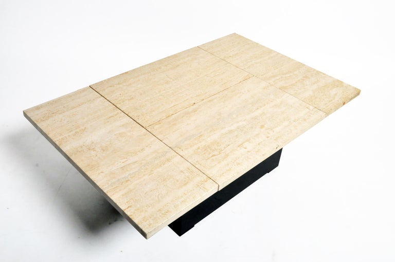 French Coffee Table with Movable Travertine Marble Top by Paul Michel For Sale 2