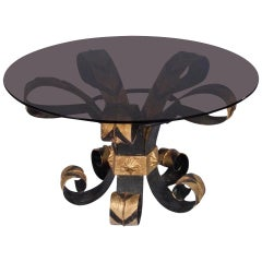 French Coffee Table with Smoked Glass Top and Wrought Iron Base, 1960s