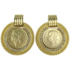 French Coin Crystal Dangle Earrings, Never Worn 1980s