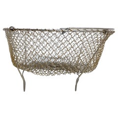 French Farm House Wire Mesh Egg Basket Stand Carry All Midcentury Modern France