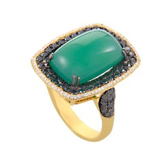 French Collection 18 Karat Gold Green Agate and Multi-Diamond Ring HF03906RS-Y-G