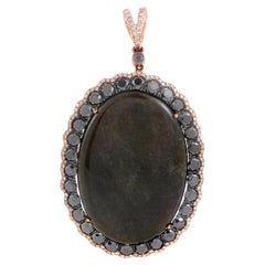 French Collection 18 Karat Gold Onyx and Diamond Enhancer Pendant PD8-15255ROX