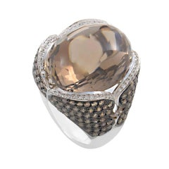 French Collection 18 Karat Gold Smokey Topaz & Brown Diamond Ring HF02020R-W-ST