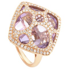French Collection 18 Karat Rose Gold Amethyst and Diamond Ring RC8-10805RAM
