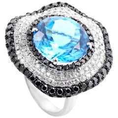 French Collection 18 Karat White Gold Diamond and Topaz Ring