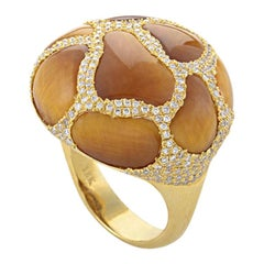 French Collection 18 Karat Yellow Gold Tiger's Eye Diamond Ring HF04064R-Y-TE