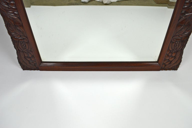 Early 20th Century French Colonial Art Deco Carved Mahogany Fireplace Mantel Mirror, circa 1920 For Sale