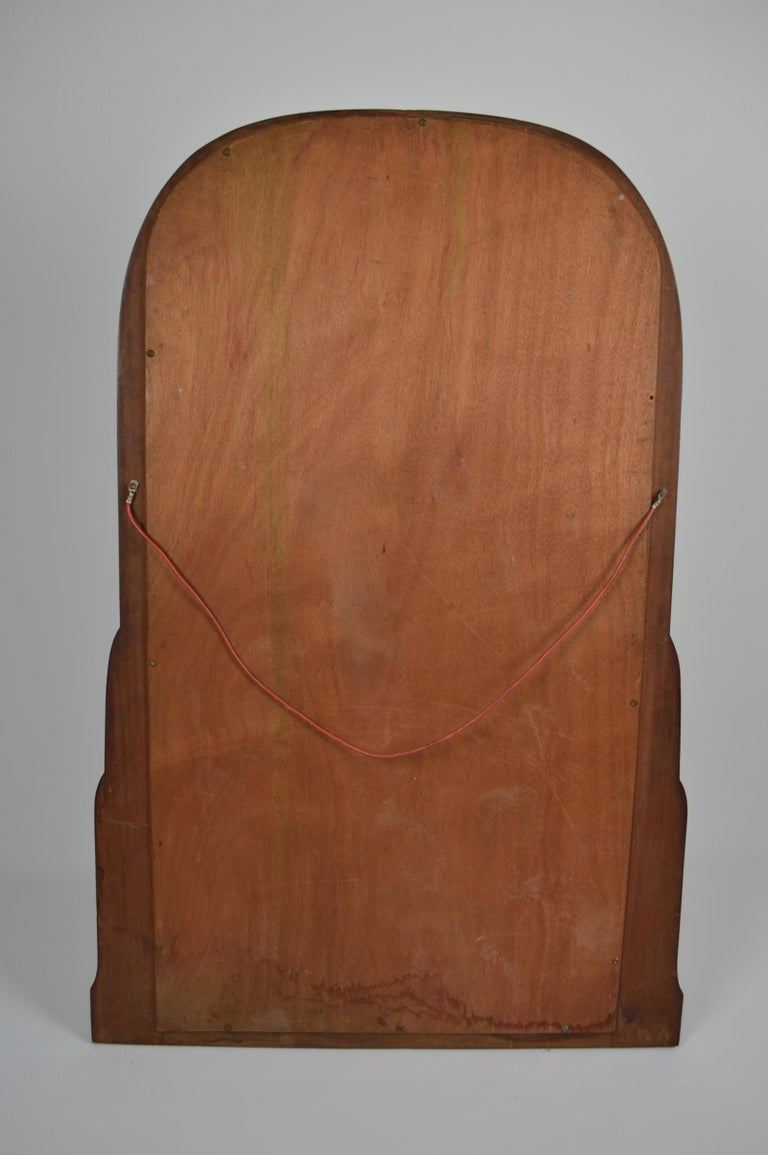 French Colonial Art Deco Carved Mahogany Fireplace Mantel Mirror, circa 1920 For Sale 1
