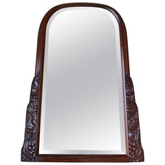 French Colonial Art Deco Carved Mahogany Fireplace Mantel Mirror, circa 1920