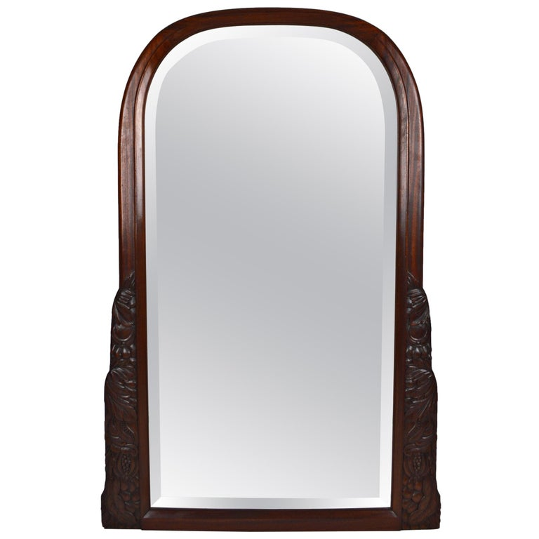 French Colonial Art Deco Carved Mahogany Fireplace Mantel Mirror, circa 1920 For Sale
