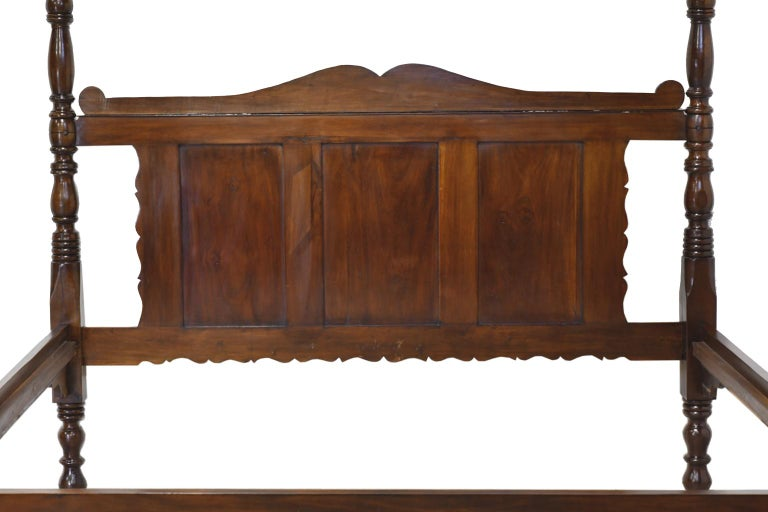 French Colonial Four-Poster Bed in West Indies Walnut