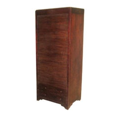 French Colonial Mahogany Roll Top Amoire, Storage, Bookcase, Cabinet, 1930