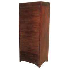 French Art Deco Mahogany Roll Top Cabinet / Storage / Armoire , 1930