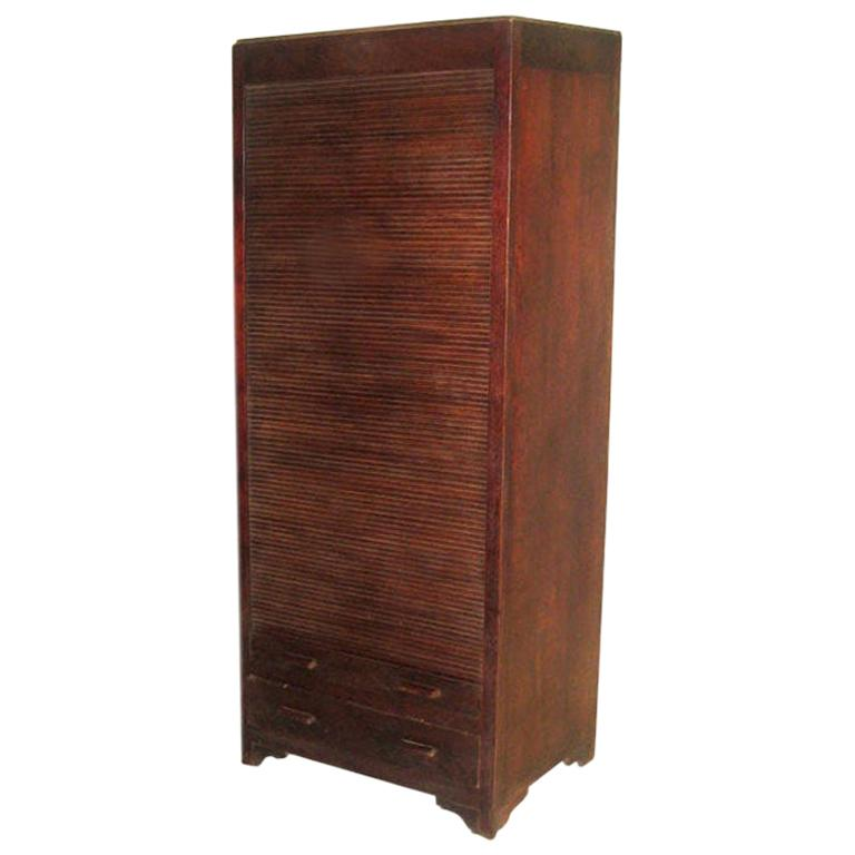 French Art Deco Mahogany Roll Top Cabinet / Storage / Armoire , 1930 For Sale