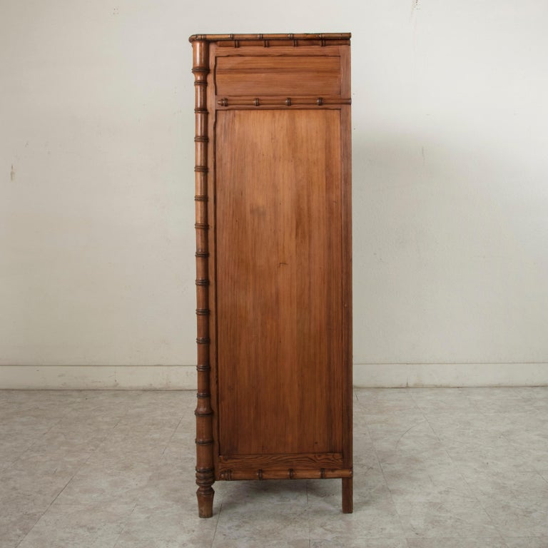 French Colonial Style Faux Bamboo Pitch Pine Armoire Cabinet, circa 1900 In Good Condition For Sale In Fayetteville, AR