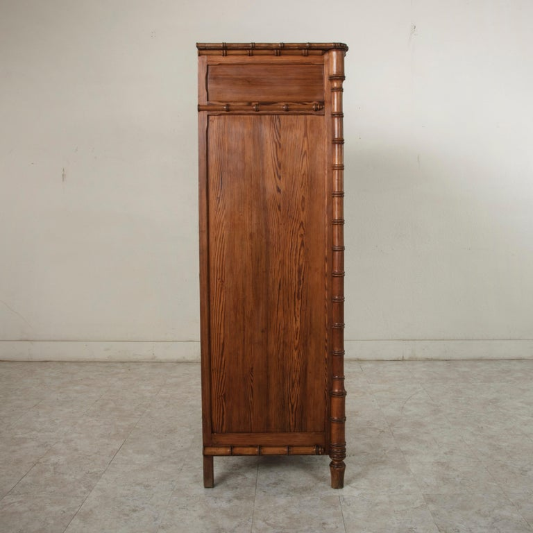 Maple French Colonial Style Faux Bamboo Pitch Pine Armoire Cabinet, circa 1900 For Sale