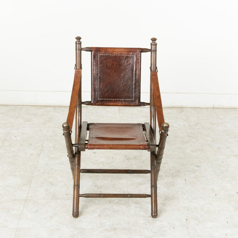 Bamboo Turned Chair: French Colonial Walnut Faux Bamboo Folding Deck Chair