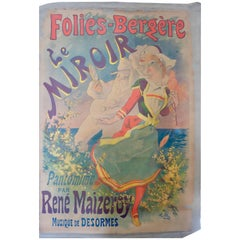 """French Color Lithograph """"Folies Bergère"""" for """"Le Miroir"""" by Jules Chéret, 1899"""