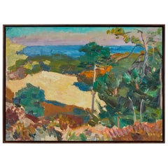 French Colorful Painting of Foliage and Houses by the Sea