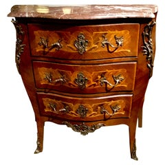 French Commode/ Chest Bombe' Form with Marquetry Inlay and Bronze Mounts 19th C