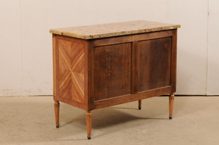 French Commode with Stone Top and Lovely Inlay Pattern Creating Visual Interest For Sale 4