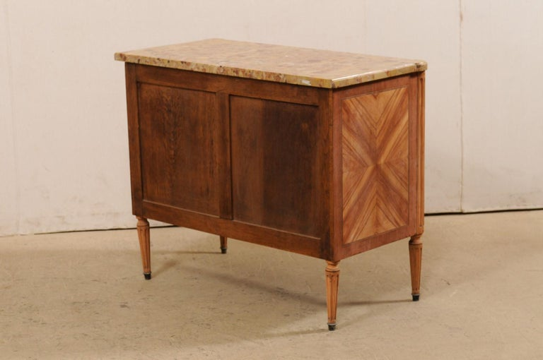 French Commode with Stone Top and Lovely Inlay Pattern Creating Visual Interest For Sale 5