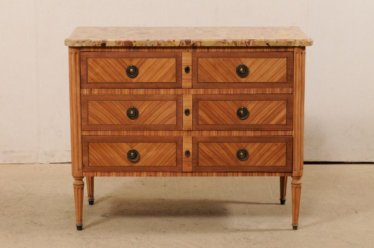 Neoclassical French Commode with Stone Top and Lovely Inlay Pattern Creating Visual Interest For Sale