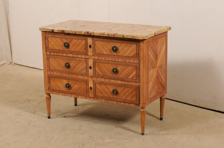 French Commode with Stone Top and Lovely Inlay Pattern Creating Visual Interest In Good Condition For Sale In Atlanta, GA