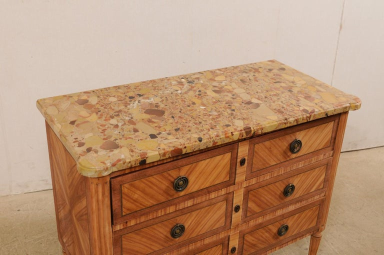 20th Century French Commode with Stone Top and Lovely Inlay Pattern Creating Visual Interest For Sale