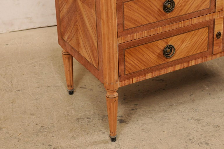 Wood French Commode with Stone Top and Lovely Inlay Pattern Creating Visual Interest For Sale