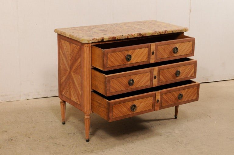 French Commode with Stone Top and Lovely Inlay Pattern Creating Visual Interest For Sale 2