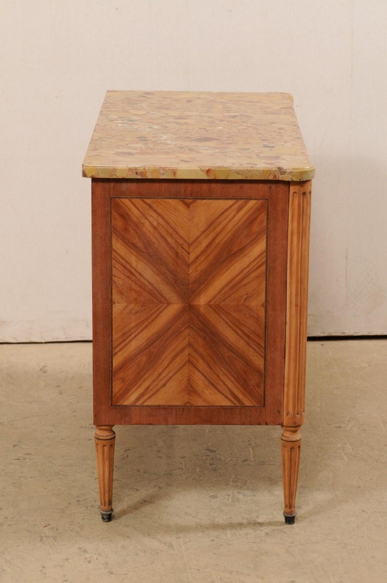 French Commode with Stone Top and Lovely Inlay Pattern Creating Visual Interest For Sale 3