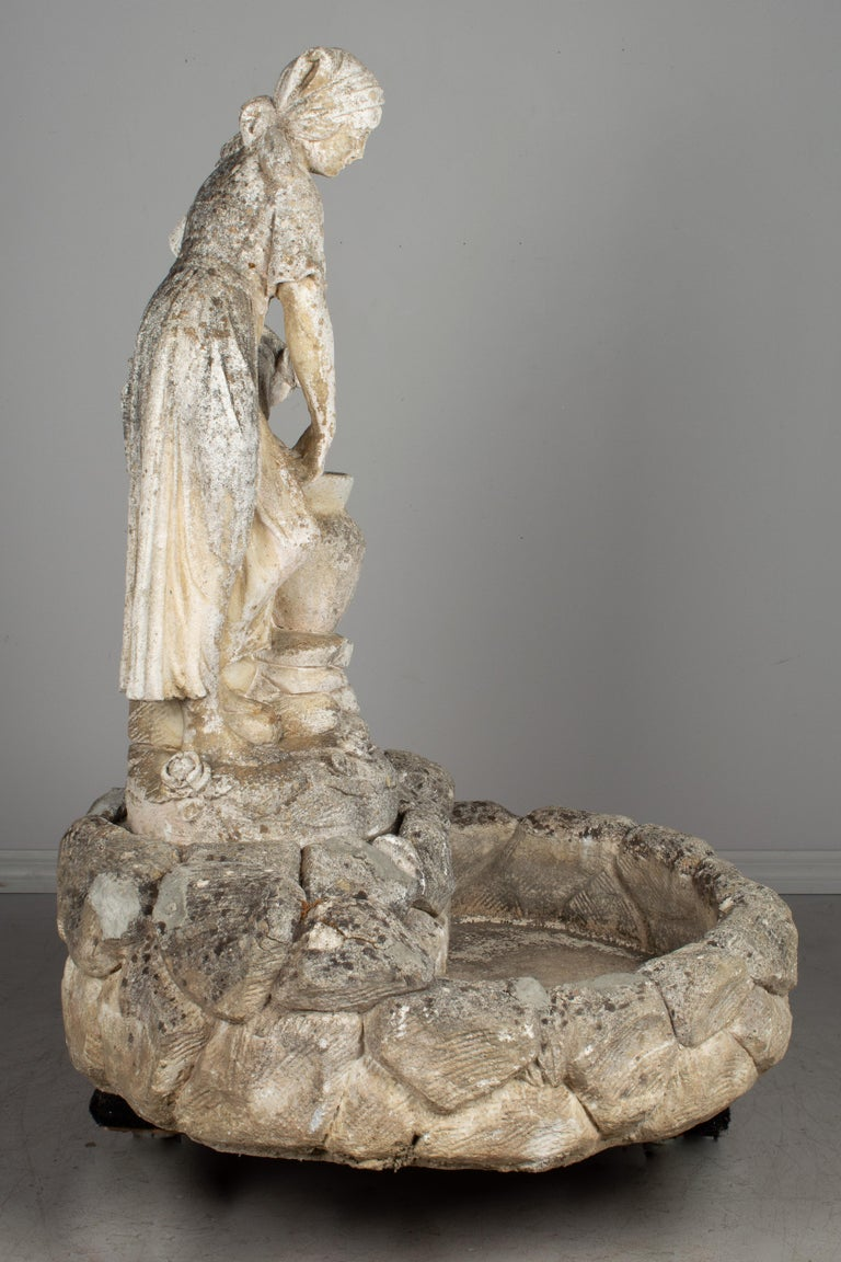 French Provincial French Composite Stone Garden Fountain For Sale