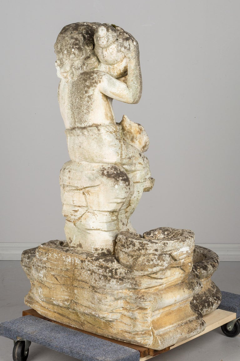20th Century French Composite Stone Garden Fountain For Sale