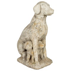 French Composite Stone Sculpture of a Garden Dog with Puppies