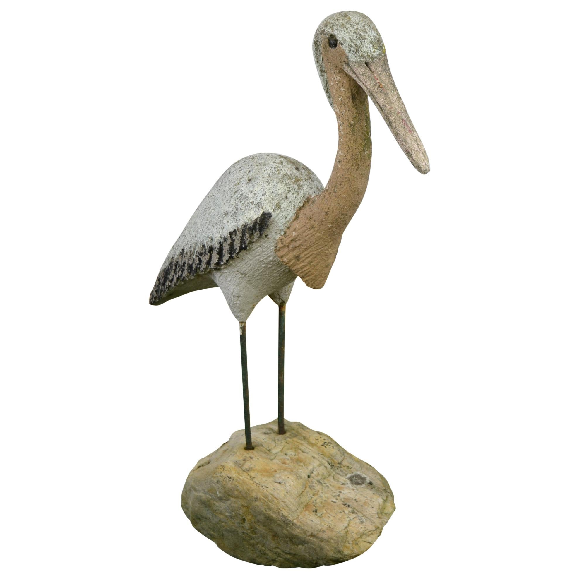 French Concrete Garden Bird Sculpture, 1950s