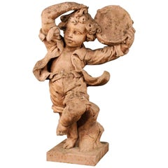 French Concrete Sculpture Dancing Child with Tambourine, 20th Century