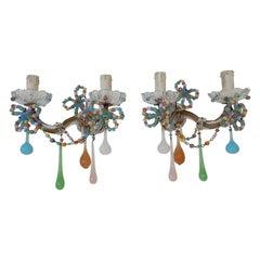 French Confetti Colorful Murano Glass Opaline Sconces, circa 1920