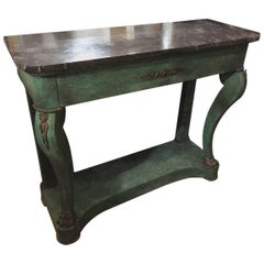 French Console Green Painted with Black Marble Top from Late 19th Century