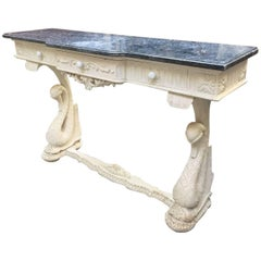 French Console White Painted with Marble Top from Late 19th Century