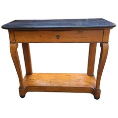 French Console with Painted Wood and Black Marble Top from 19th Century