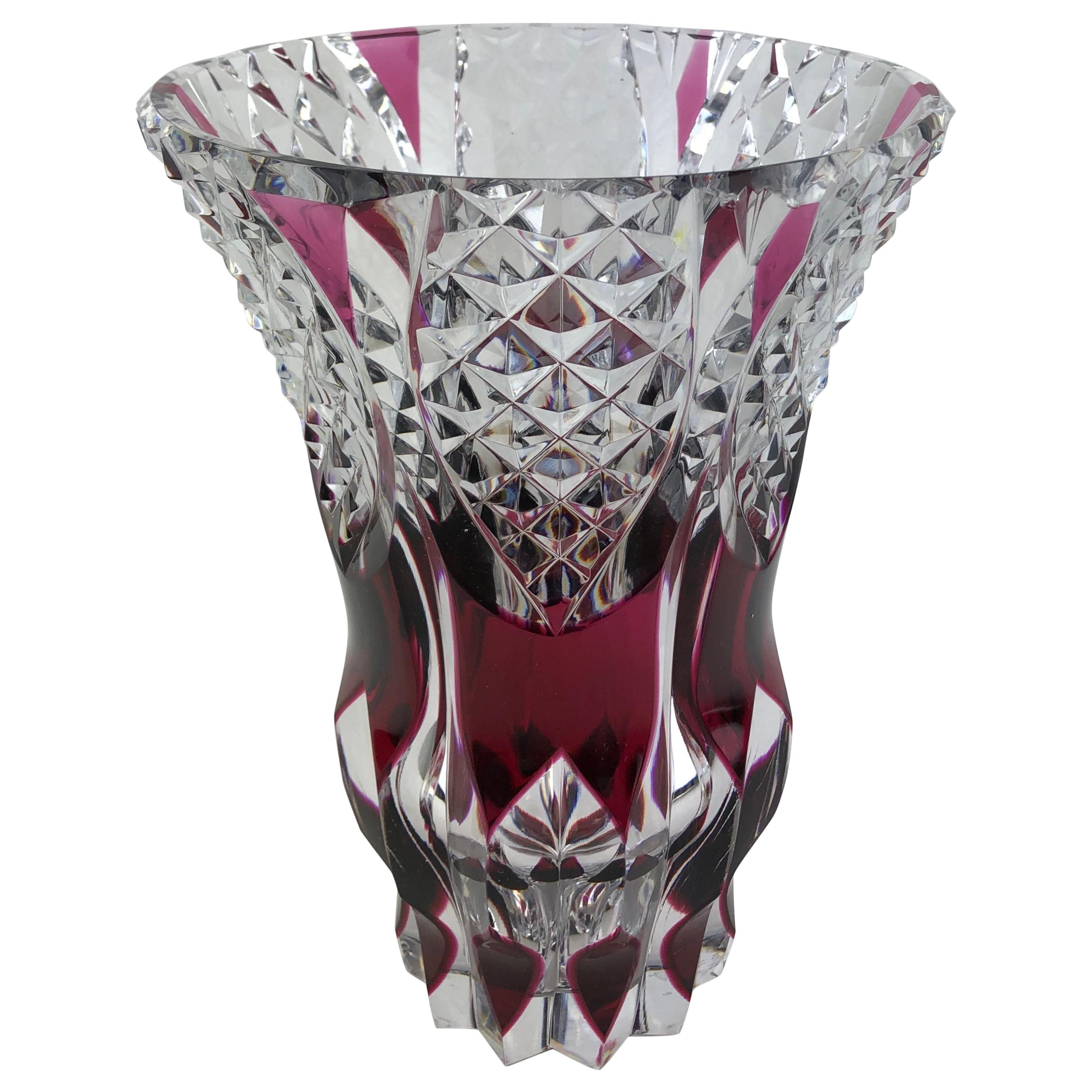 French Contemporary Amethyst or Pink Red Crystal Flower Vase