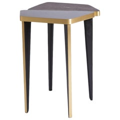 French Contemporary Black, Grey and Bronze Side Table with Carbon Shagreen
