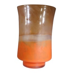 French Contemporary French Orange and Amber Glass Vase