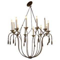 French Contry Antique Wood Chandelier
