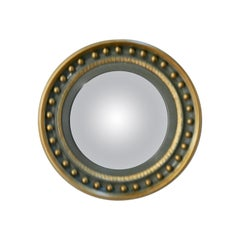 French Convex Green and Gold Wall Mirror