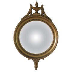 French Convex Wall Mirror in the Empire Style Gilt Wood, Circa 1930s