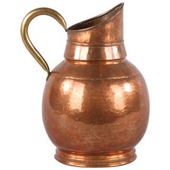 French Copper and Brass Pitcher, Early 1900s