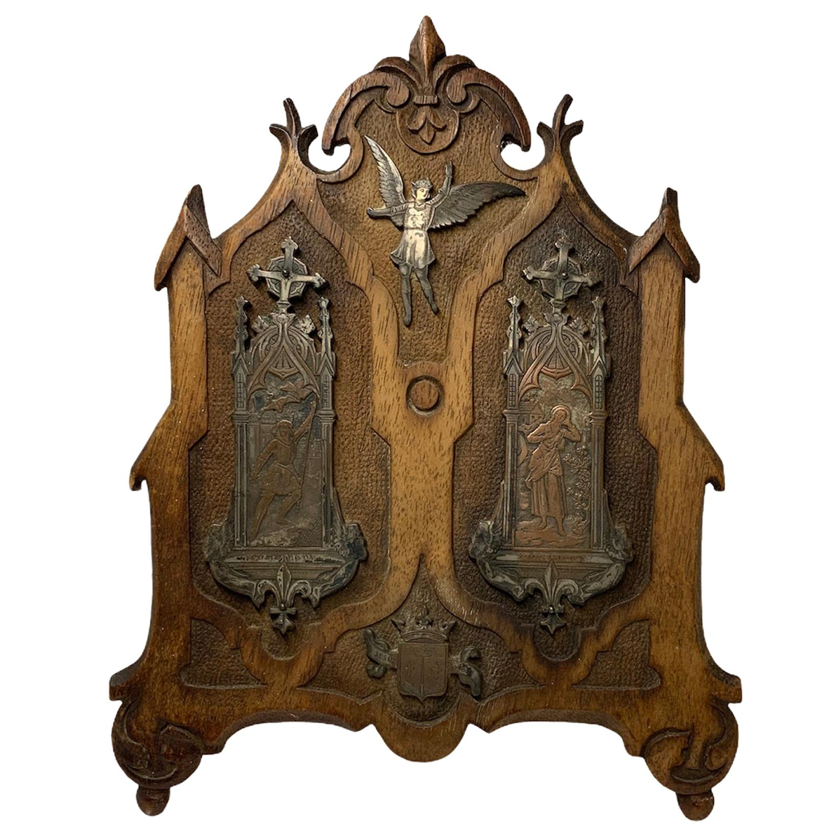 French Copper and Carved Wood Plaque of Joan of Arc