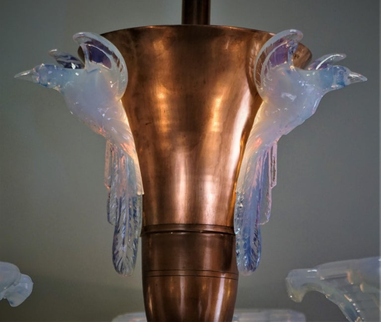 Plated French Copper and Opalescent Glass Art Deco Chandelier by Ezan For Sale